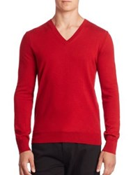 Burberry Dockley Check Elbow Wool V Neck Sweater Red