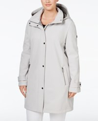 Calvin Klein Plus Size Hooded 4 Way Stretch Softshell Raincoat Cement