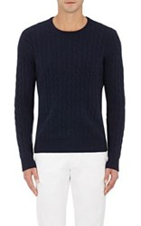 Piattelli Men's Cashmere Cable Knit Sweater Navy
