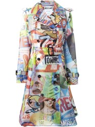 Moschino Multi Print Trench Coat Multicolour