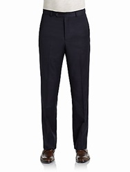 Tommy Hilfiger Trim Fit Pinstriped Wool Trousers Navy