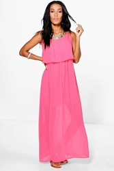 Boohoo Frill Top Maxi Dress Coral