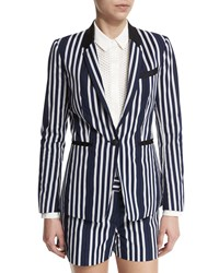 Rag And Bone Windsor Striped Woven Blazer Navy White