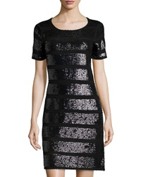 Catherine Catherine Malandrino Short Sleeve Sequined Knit Cocktail Dress Black