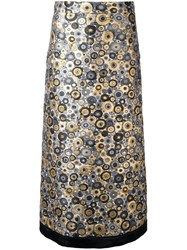 Ungaro Emanuel Circle Embroidered Maxi Skirt Metallic