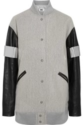 Maison Martin Margiela Mm6 Faux Leather Paneled Wool Blend Felt Bomber Jacket Gray