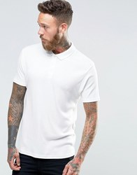 Asos Extreme Muscle Polo Shirt In Lightweight Rib Off White