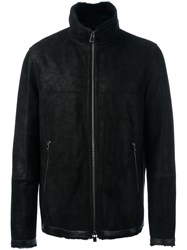 Drome Zipped Shearling Jacket Black
