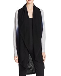 Bloomingdale's C By Draped Dip Dye Cashmere Cardigan Cement Black