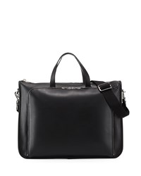 Textured Leather Wide Briefcase Black Loewe