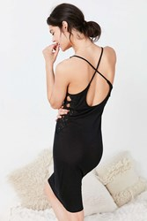 Out From Under Crochet Side Bodycon Slip Dress Black