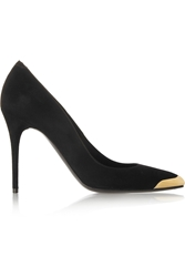 Alexander Mcqueen Gold Capped Suede Pumps