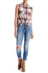 Just Usa Distressed Ankle Crop Jean Blue