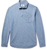 Nn.07 Slim Fit Half Placket Cotton Chambray Shirt Blue