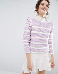 Willow And Paige Ribbed Jumper In Breton Stripe With Shoulder Ruffle Lilac Purple