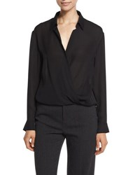 Vince Long Sleeve Silk Wrap Top Black