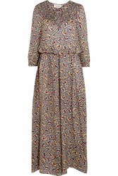 The Great Carousel Floral Print Silk Crepe Maxi Dress Beige Blue