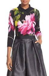 Ted Baker Women's London 'Citrus Bloom' Print Collared Cotton Sweater