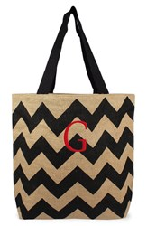 Cathy's Concepts Personalized Chevron Print Jute Tote Grey Black Natural G