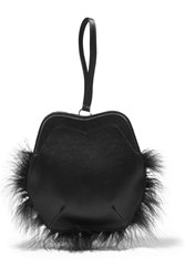 Simone Rocha Feather Trimmed Satin Clutch Black