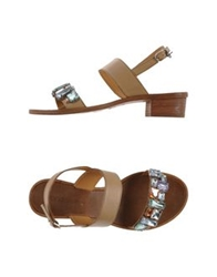 Coral Blue Thong Sandals Beige
