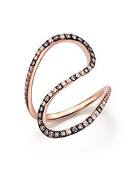 Bloomingdale's White And Brown Diamond Swirl Ring In 14K Rose Gold