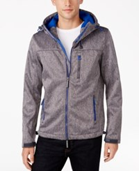 Superdry Men's Windtrekker Soft Shell Hooded Coat Dark Grey Grit Studio Blue
