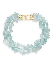 Kenneth Jay Lane Blue Opal And 22K Yellow Gold Plated Necklace Polished Gold