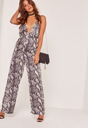 Missguided Snake Print Wide Leg Satin Jumpsuit Animal