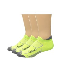 Feetures Elite Max Cushion No Show Tab 3 Pair Pack Reflector Carbon No Show Socks Shoes Yellow