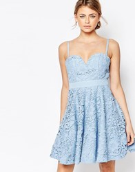 Forever Unique Lace Mini Prom Dress With Sweetheart Neck Blue