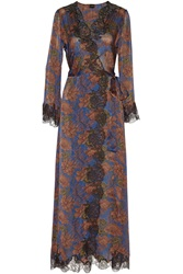 Carine Gilson Ukyo Lace Trimmed Printed Silk Satin Robe Blue