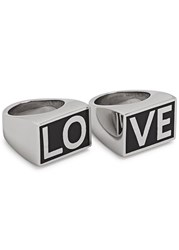 Givenchy Silver Tone Love Rings Black And Silver