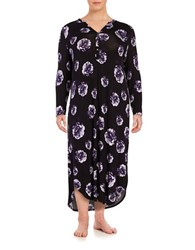 Lord And Taylor Plus Printed Nightgown Black Pink