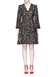 Alexander Mcqueen Obsession Print Slit Sleeve Cape Dress Black