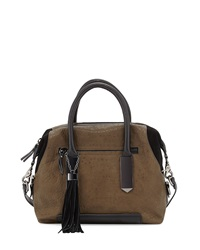French Connection Camden Suede Trim Satchel Bag Turtle Bla