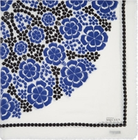 Alexander Mcqueen Royal Blue And White Floral Circle Pashmina Scarf