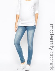 Mama Licious Mamalicious Maternity Jeans In Slim Fit Blue