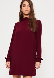 Missguided Burgundy Crepe Victorian Style Shift Dress