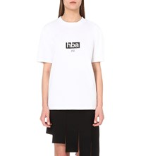 Hood By Air Open Back Cotton Jersey T Shirt White Black
