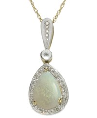 Macy's 14K Gold And 14K White Gold Necklace Opal 7 8 Ct. T.W. And Diamond 1 10 Ct. T.W. Pear Shaped Pendant