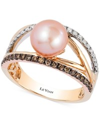 Le Vian Chocolatier Pink Freshwater Pearl 8Mm And Diamond 3 8 Ct. T.W. Ring In 14K White Yellow And Rose Gold