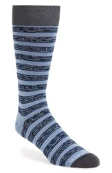 Men's Hook Albert Stripe Socks Blue Purified Blue
