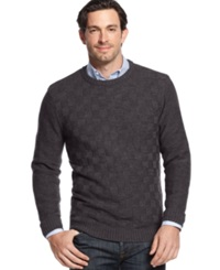 Geoffrey Beene Big And Tall Solid Basketweave Sweater Graphite Heather