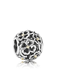 Pandora Design Pandora Charm Sterling Silver And 14K Gold Evening Floral Moments Collection Silver Gold