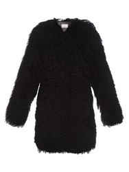 Yves Salomon Collarless Long Haired Shearling Coat