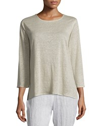 Caroline Rose 3 4 Sleeve Linen Knit Top Natural Women's