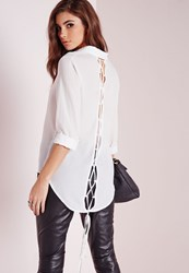 Missguided Lace Up Back Shirt White Ivory