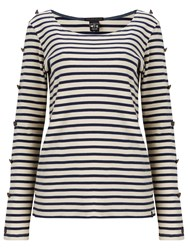Maison Scotch Long Sleeve Breton T Shirt Navy White