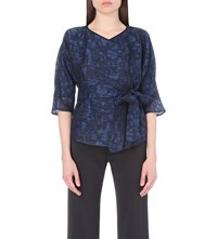 Armani Collezioni Cropped Organza Wrap Jacket Royal Blue